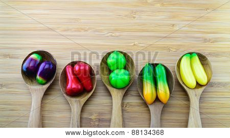 Fruit-shape Desserts Made Of Mung-bean Flour With Natural Colouring, Called Luk Chup,is A Famous Tha