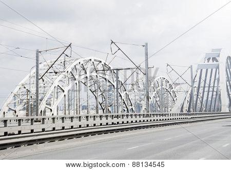 Blurred Rail And Road Bridge