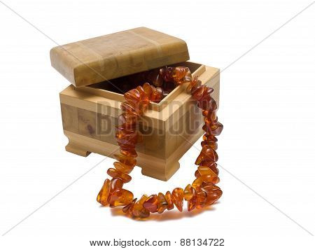 Wooden Box With Amber Necklace