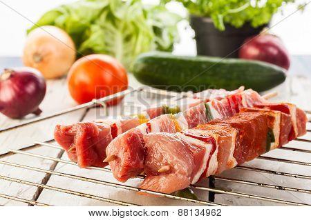 Raw Shashlik And Vegetables
