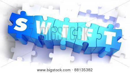 SWIFT - White Word on Blue Puzzles.