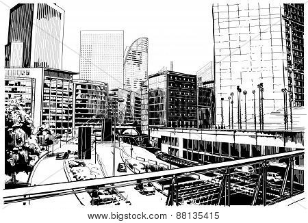 Vector illustration of street in Paris.