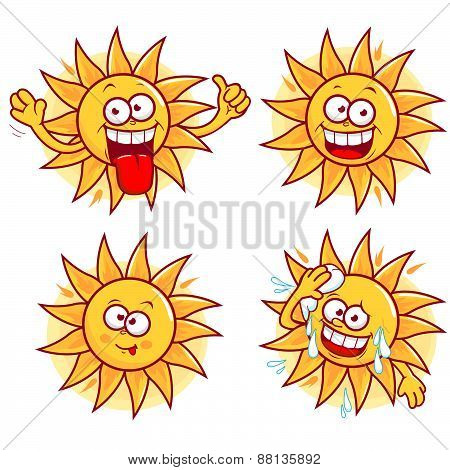 Cartoon sun vector set