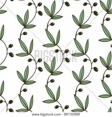 Seamless Green Olive Pattern