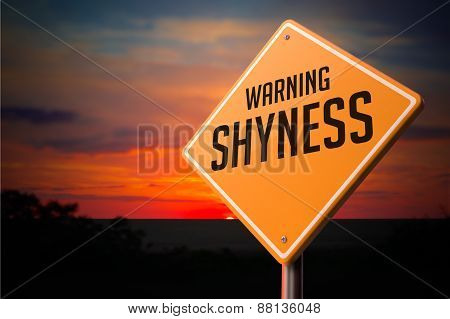 Shyness on Warning Road Sign.