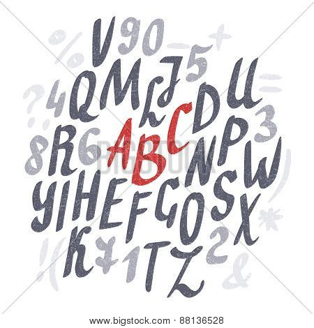 Alphabet. Hand drawn letters.