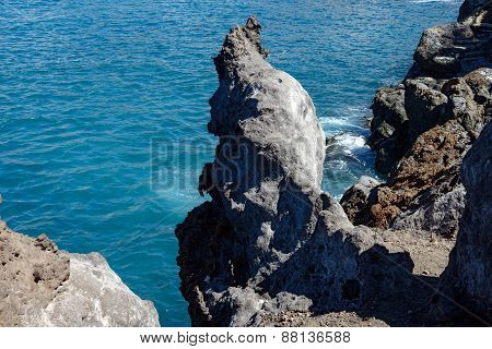 Unusual Sculptural Rock On Barbero Cape, Tenerife, Canary Islands.