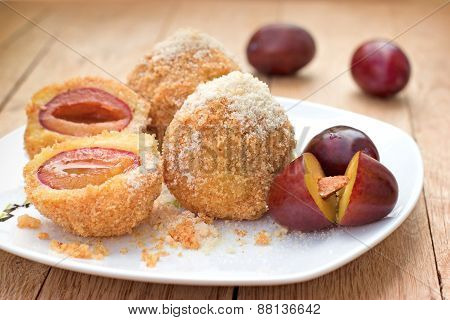 Dumplings with plums