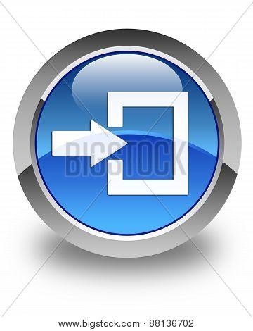 Login Icon Glossy Blue Round Button