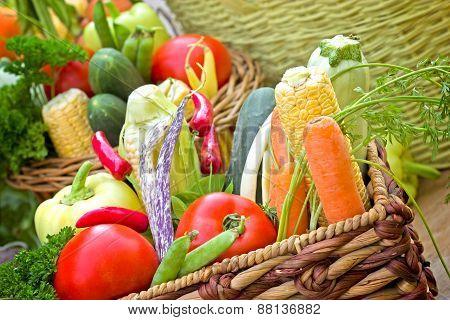 Organic vegetable in wicker basket