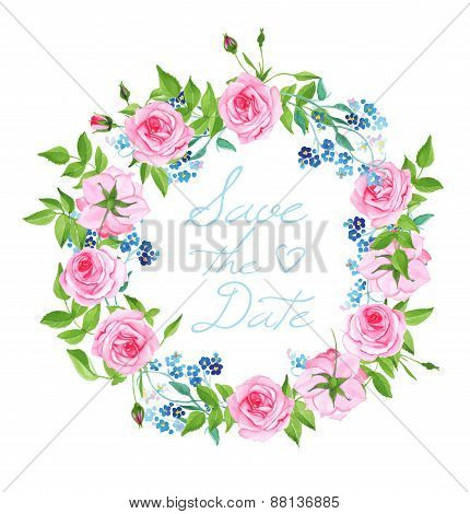 Forget-me-nots And Roses Wreath Vector Card