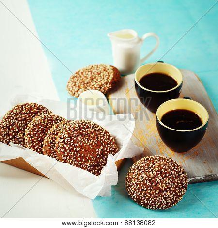 Chocolate Crispy Cookies With Morning Coffee