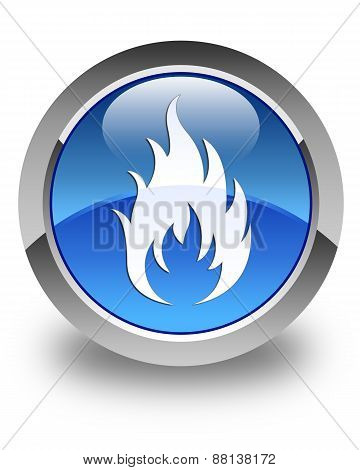 Fire Icon Glossy Blue Round Button