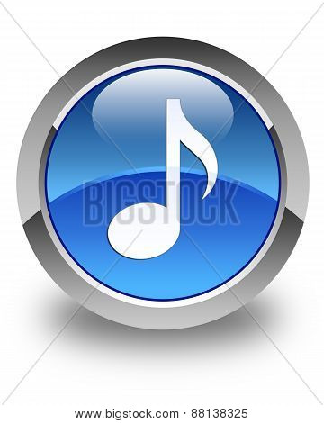 Music Icon Glossy Blue Round Button