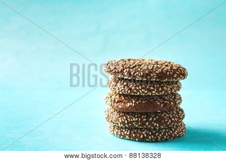 Stacked Chocolate Crispy Cookies With Sesame