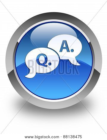 Question Answer Bubble Icon Glossy Blue Round Button