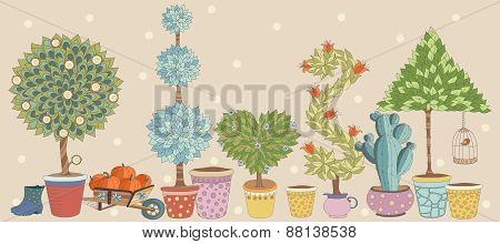 Topiary Landscape plants collection  vector, set with trees.