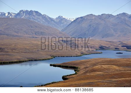 Tekapo Lake Landscape In Nz.