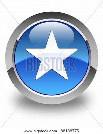 Star Icon Glossy Blue Round Button