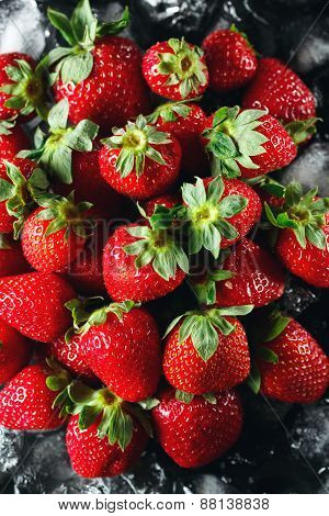 Ripe Strawberry On Ice