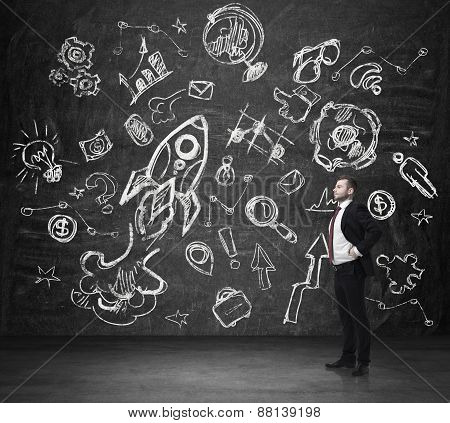 Young Businessman Is Thinking In Front Of The Sketches Drawn On The Dark Concrete Wall