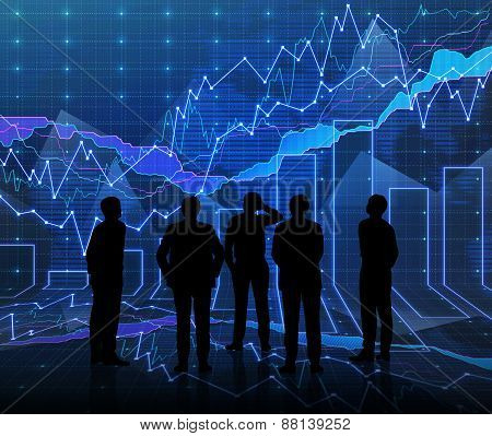 An Abstract Forex Graph Room In Blue With People Siluet