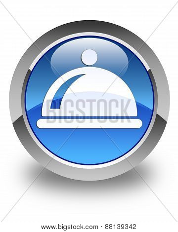 Food Dish Icon Glossy Blue Round Button