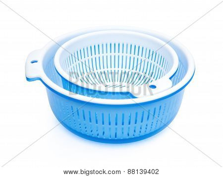 Two Sets Of Plastic Basket With Tub Stacking Together, Clipping Path Included