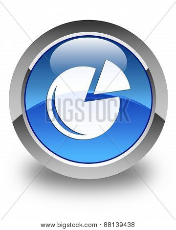 Graph Icon Glossy Blue Round Button
