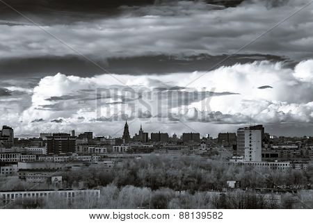 Moscow Aerial Infrared Panorama At Stormy Weather