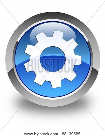 Process Icon Glossy Blue Round Button