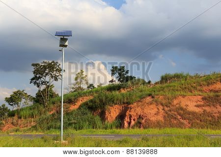 Solar Panel On Electric Pole On Road  For Lightning In Countryside, Brazil