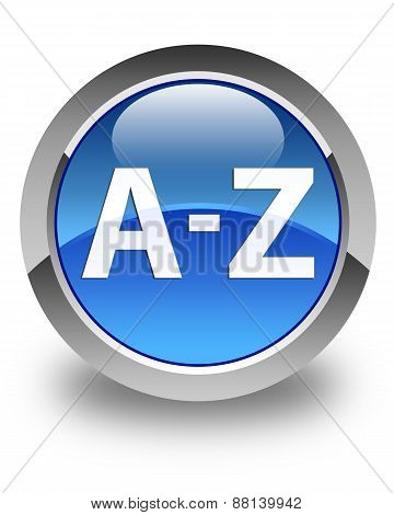 A To Z Glossy Blue Round Button