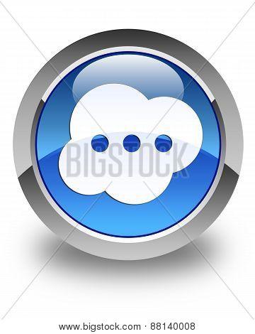 Brain Icon Glossy Blue Round Button