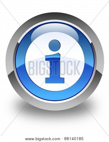 Info Icon Glossy Blue Round Button