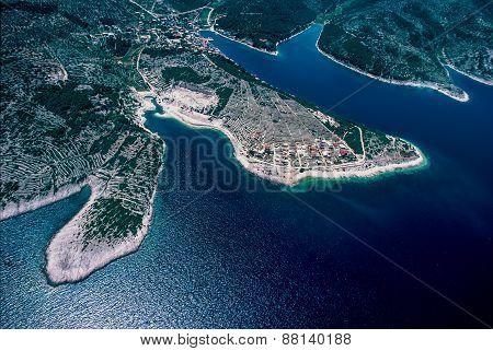 Aerial View At Povlja At Brac Island, Croatia