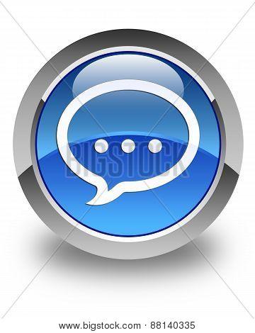 Talk Icon Glossy Blue Round Button