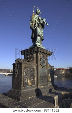 Statue of St. John of Nepomuk on the Charles Bridge. Czech Republic. Prague.