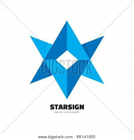 Starsign - abstract vector logo concept illustration. Six-pointed star logo.