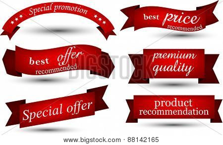 Set of red banners and ribbons. Vector illustration.