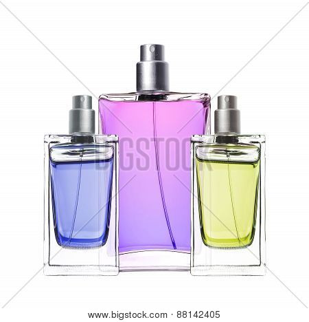 Woman Perfume In Beautiful Bottles Isolated