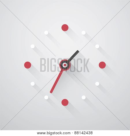 Simple Clock With Red And White Dots And Long Shadows