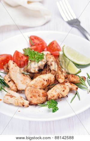 Slices Chicken Meat With Vegetables