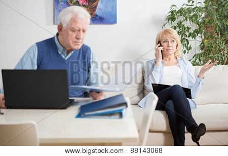 Elder People Working At Home
