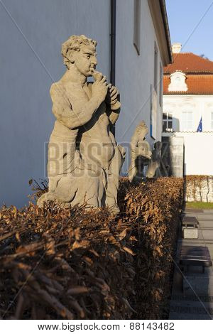 Sculptures in the square Wallenstein arena. Prague. Czech Republic.