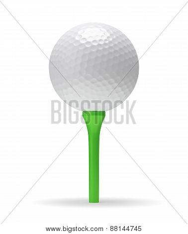 Golf Ball On The Green Tee