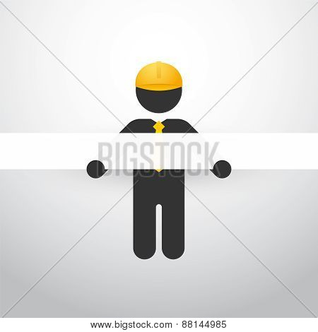 Black Figure With Yellow Helmet And White Stripes