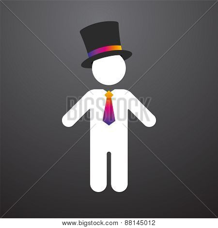 White Figure With A Top Hat And Colorful Tie