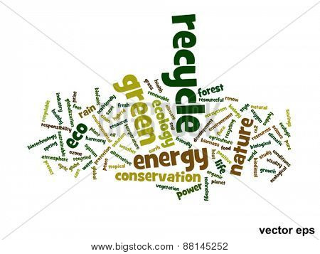 Vector eps concept or conceptual abstract green recycle ecology and conservation word cloud text on white background