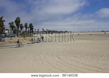 People Cycling On The Cycling Lane Of Venice Beach